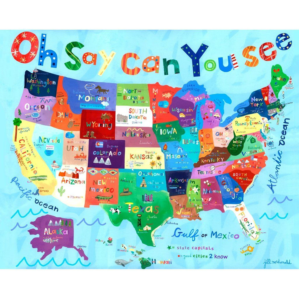 Cute Usa Map.Really Cute Usa But Needs To Be Cropped Good For Social Studies