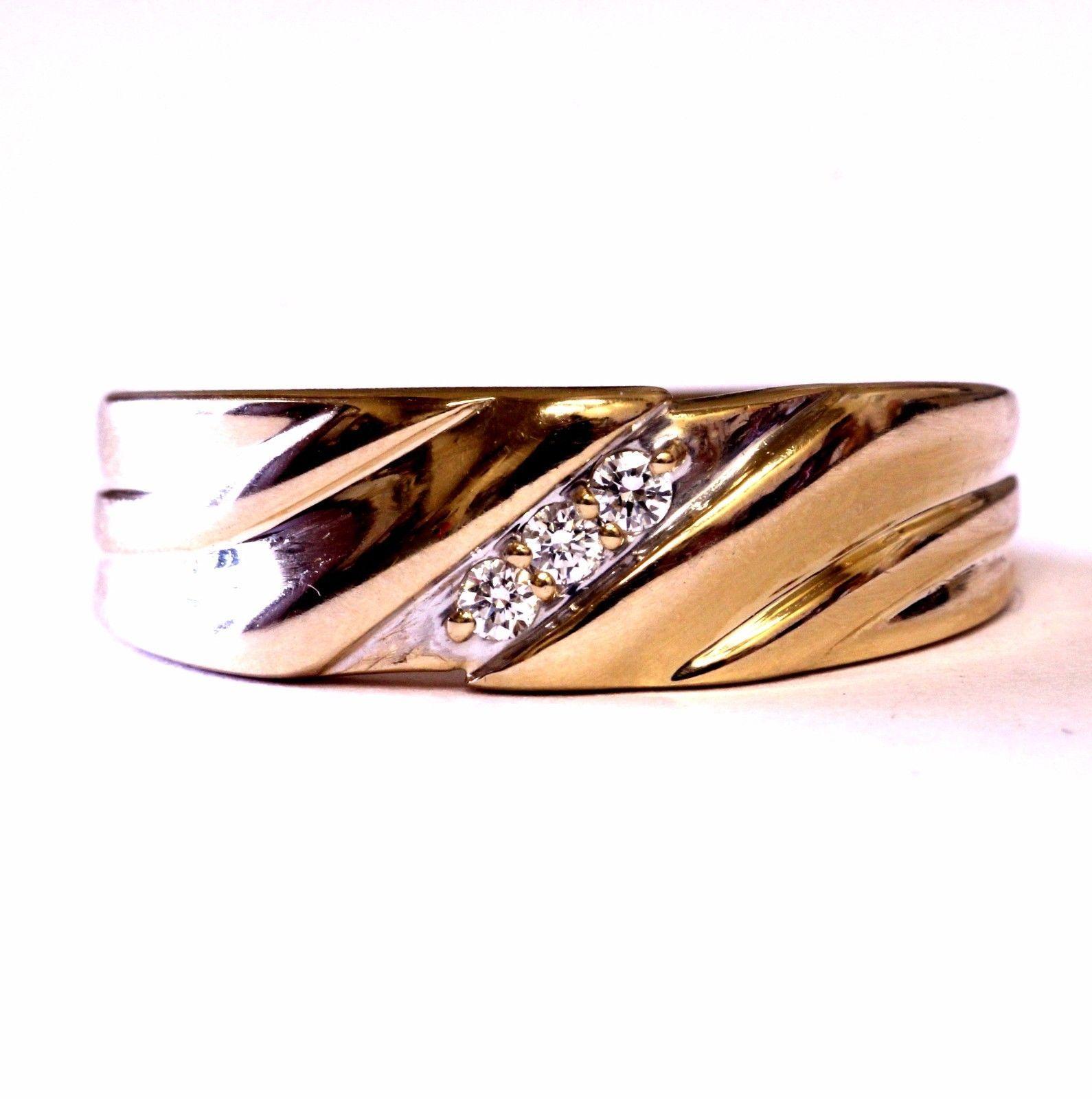 14k yellow gold VS H .09ct mens comfort fit wedding band
