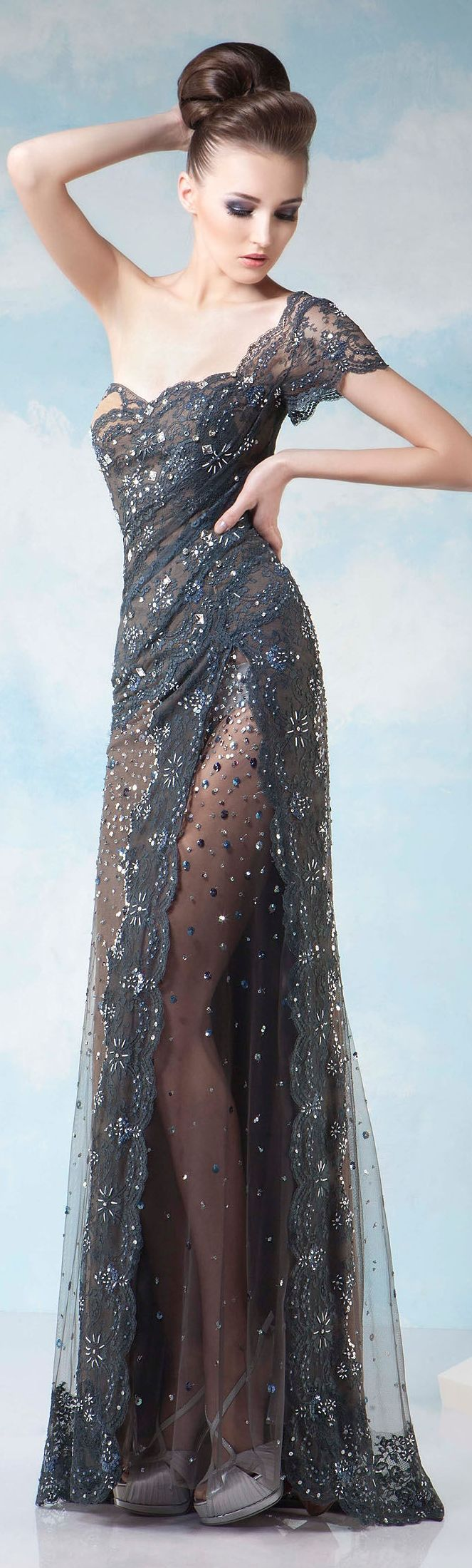 Lace dress gray  Gorgeous dress  Love for Fashion  Pinterest  Couture Gowns and Prom