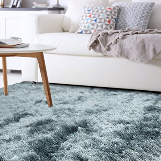 Amazon Com Silky Soft Shag Rug 8ft0in X 10ft0in In Salt And Pepper Kitchen Dining Soft Shag Rug Shag Rug Rugs