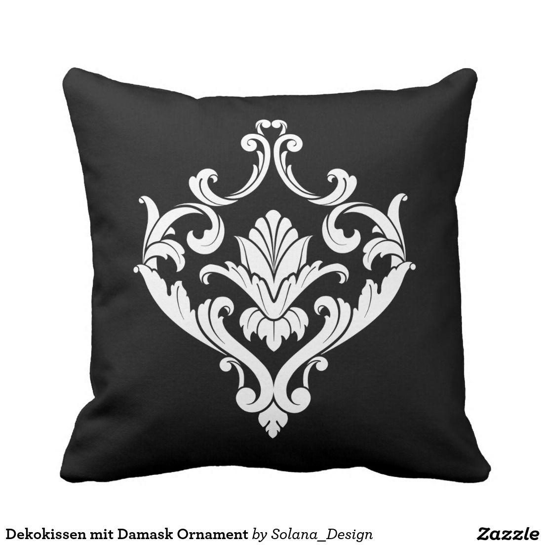 Dekokissen Mit Damask Ornament Kissen #vintage #shabby #chic #schwarz Weiss  #