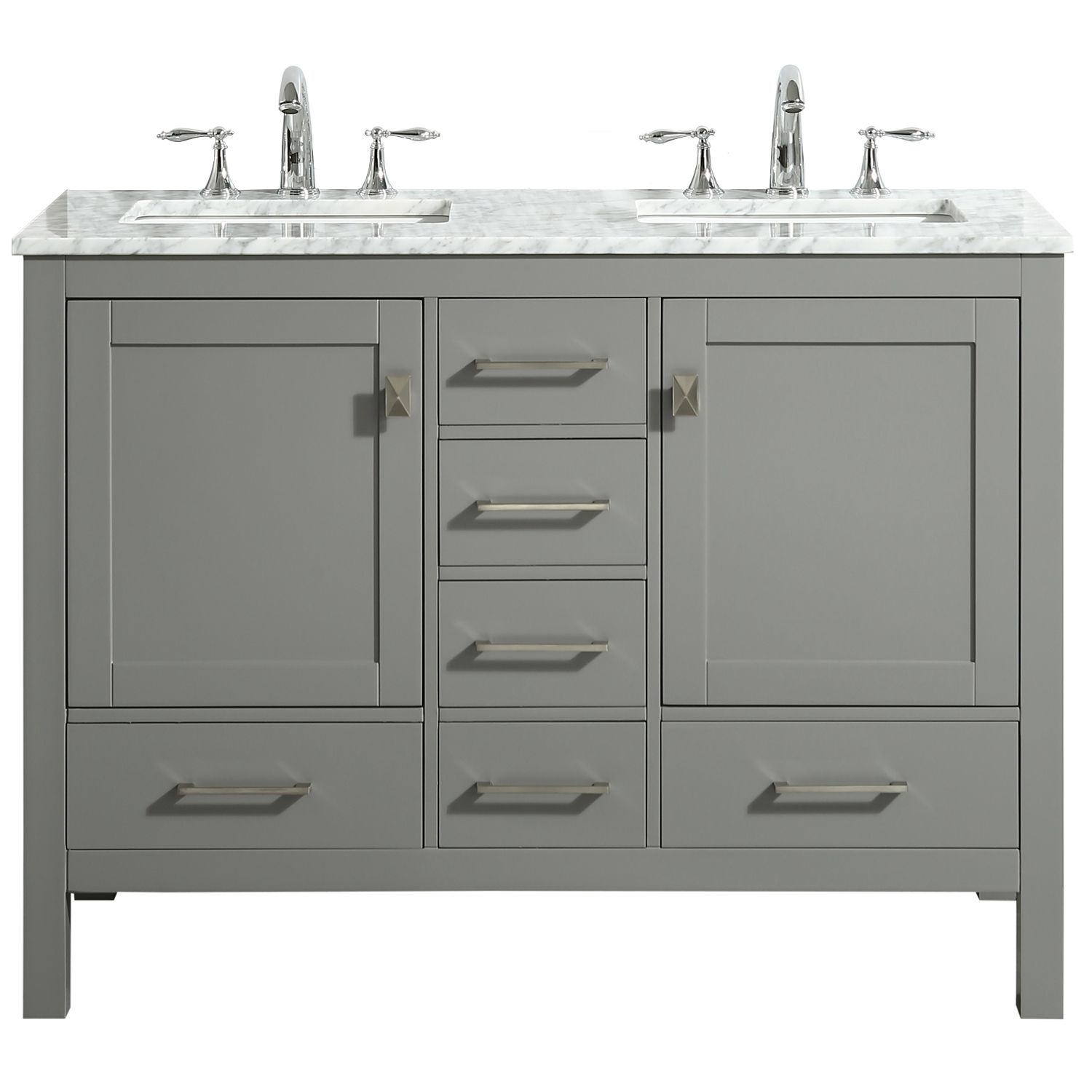 Eviva Aberdeen 48 Transitional Gray Bathroom Vanity With White