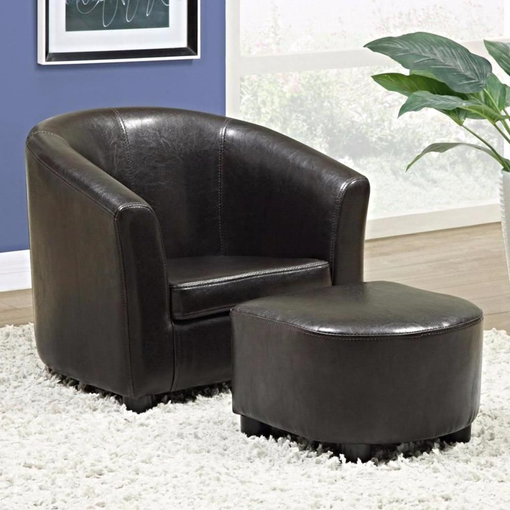 LEATHER CHAIR OTTOMAN Seat Set Armchair Vintage Modern