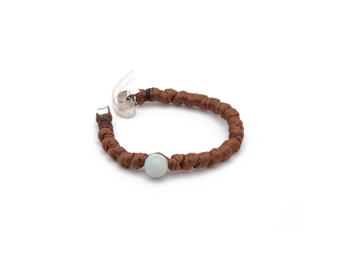 Javier's One of a kind chocolate knots bracelet. Available in different colours and stones on www.thejaviers.com