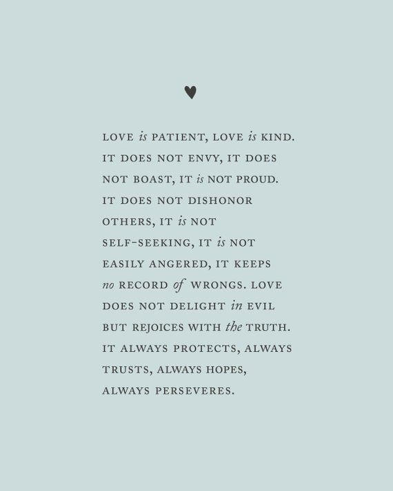 Love is patient love is kind Corinthians 13:4-8 wedding