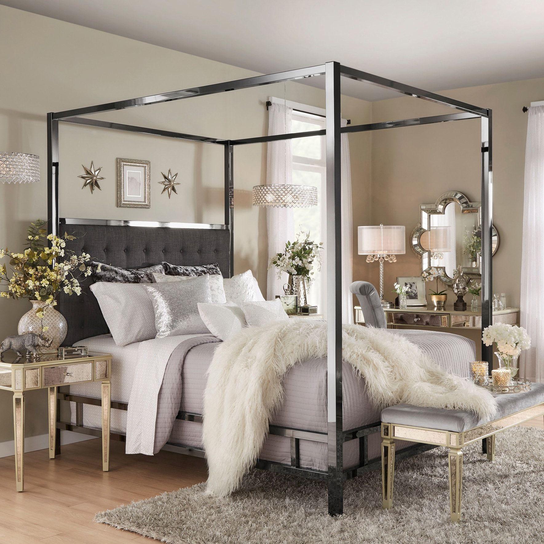 Solivita Black Nickel Metal Queensize Canopy Poster Bed