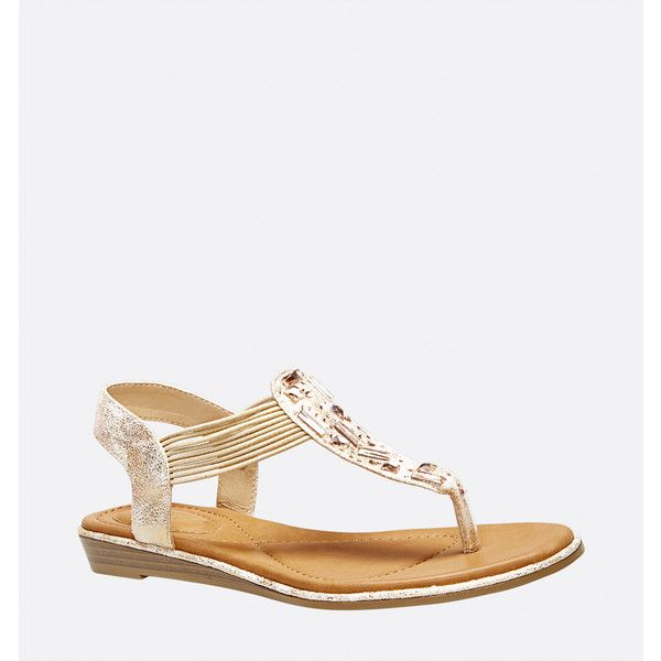 Avenue Tybee Metallic Thong Sandal ($20) ❤ liked on Polyvore featuring shoes, sandals, gold, plus size, low heel sandals, gold thong sandals, gold sandals, gold jeweled sandals and jeweled thong sandals