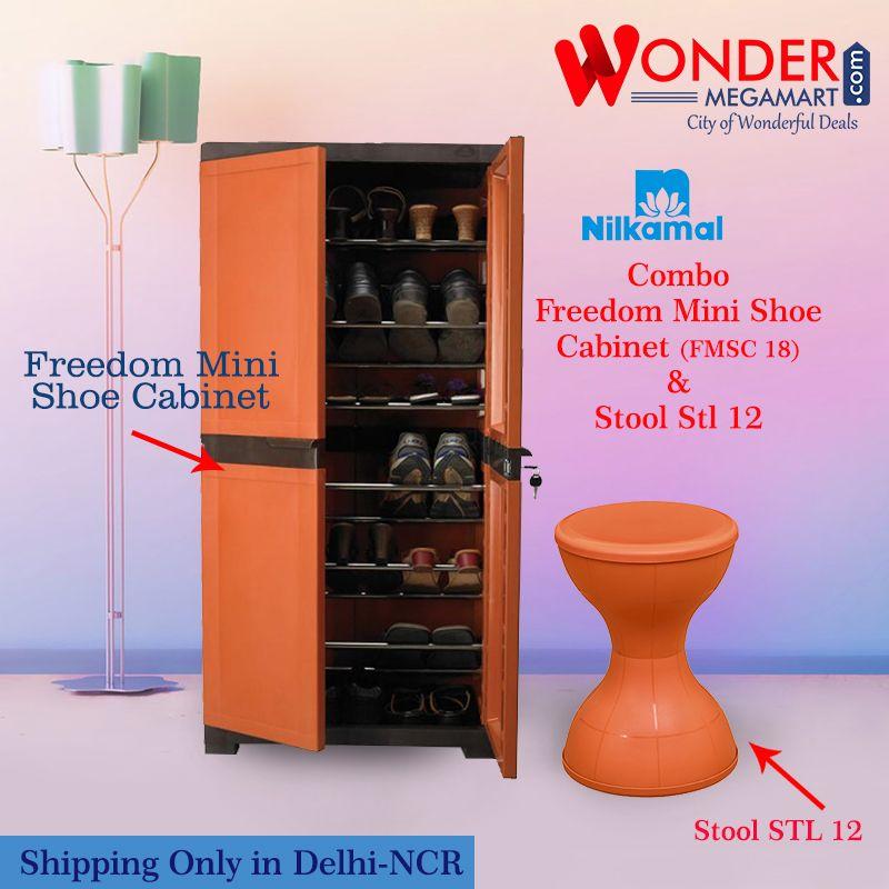 Buy Nilkamal Combo Freedom Mini Shoe Cabinet Fmsc 18 Stool Stl 12 Plastic Storage Cabinets Small Storage Cabinet Shoe Cabinet