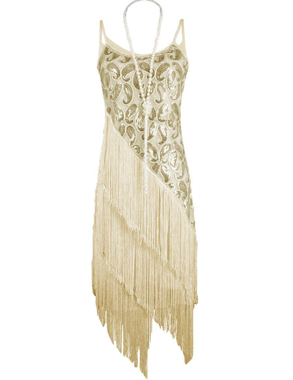 3b82846c PrettyGuide Women's 1920S Paisley Art Deco Sequin Tassel Glam Party Gatsby  Dress at Amazon Women's Clothing store: