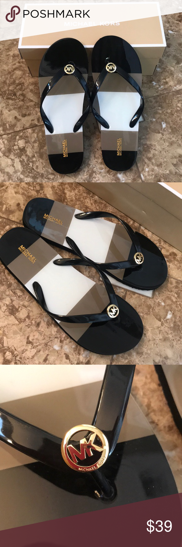 8c26b2f8d7bb80 NWB Michael Kors Shiny Flip Flops sz 10 BRAND NEW IN BOX Size 10 Black gold  ‼️PRICE AS LISTED THANK YOU‼ Michael Kors Shoes Sandals