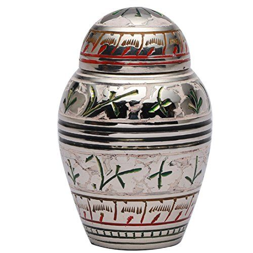 Small Urns For Human Ashes Silver White Floral Memorial Keepsake New Small Decorative Urns