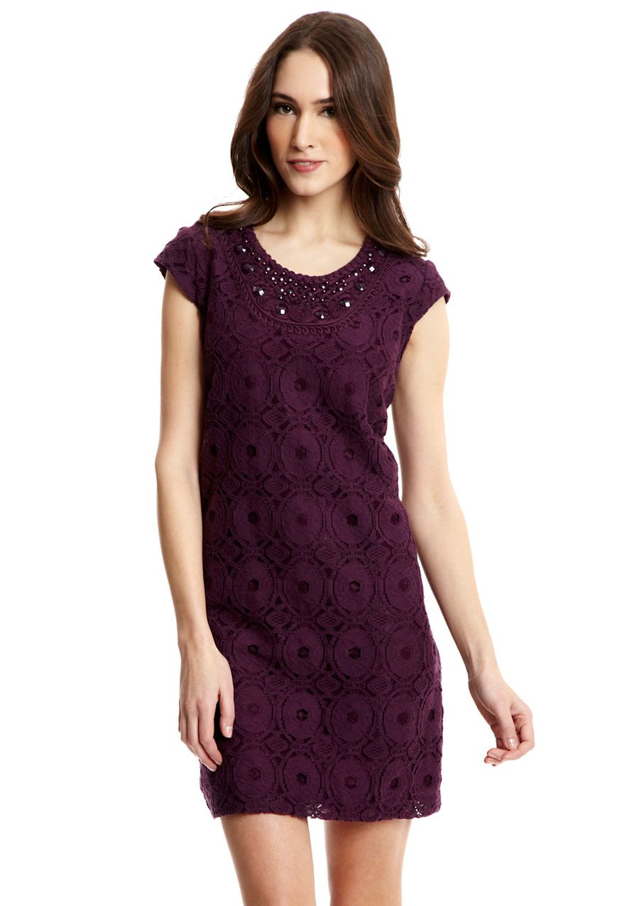 Sandra darren cap sleeve embellished lace dress dresses love