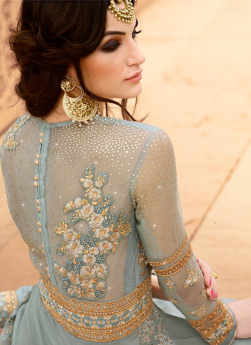 af68a87dab0 Light Blue and Gold Embroidered Anarkali features a beautiful light blue georgette  top with a santoon bottom