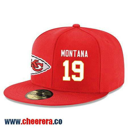 Kansas City Chiefs #19 Joe Montana Snapback Cap NFL Player Red with White Number Stitched Hat