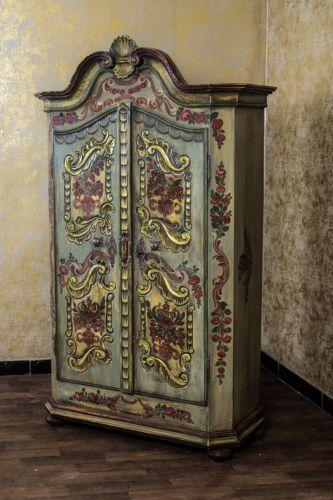 Lovely Details zu Bauernschrank Landhaus Schrank Kleiderschrank Dielenschrank Kasten Antik Bemalt