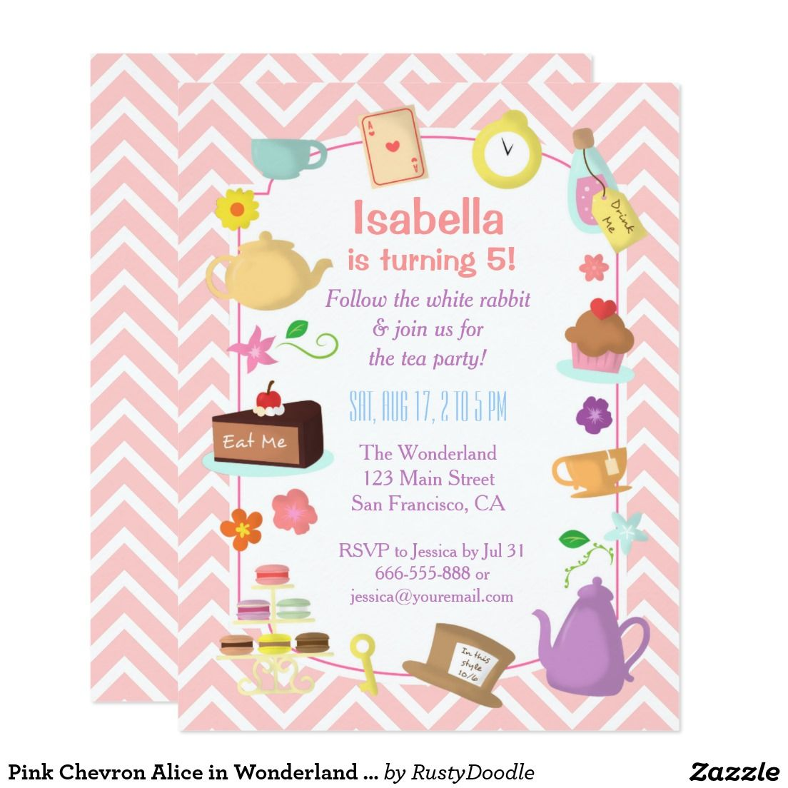 Pink Chevron Alice In Wonderland Tea Party Card  Tea Party
