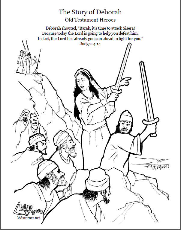 Story Of Deborah Coloring Page Script And Audio Kidscornerreframemedia Bible Stories The