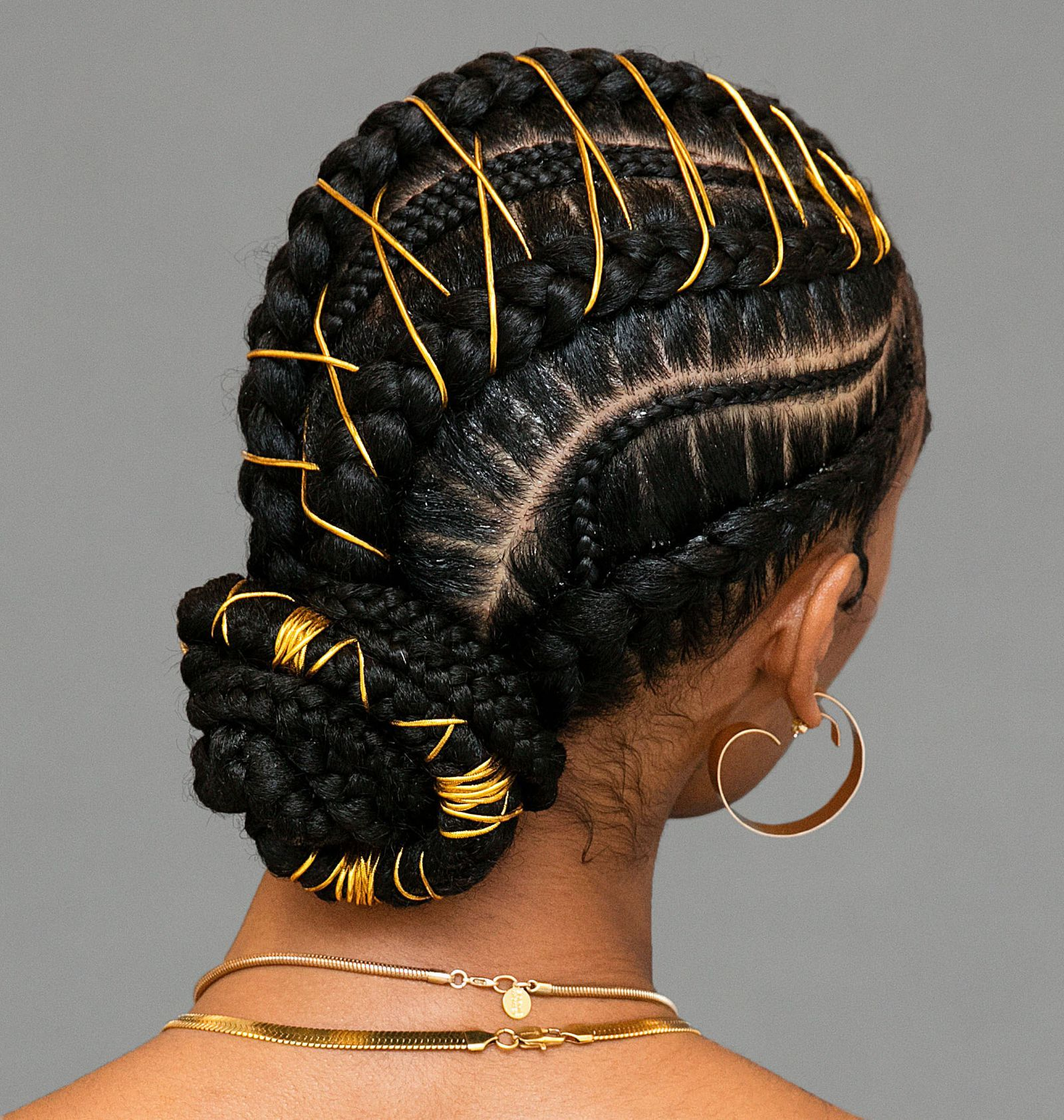Um This Braided Bun With Gold Stitching Is Definitely The Next