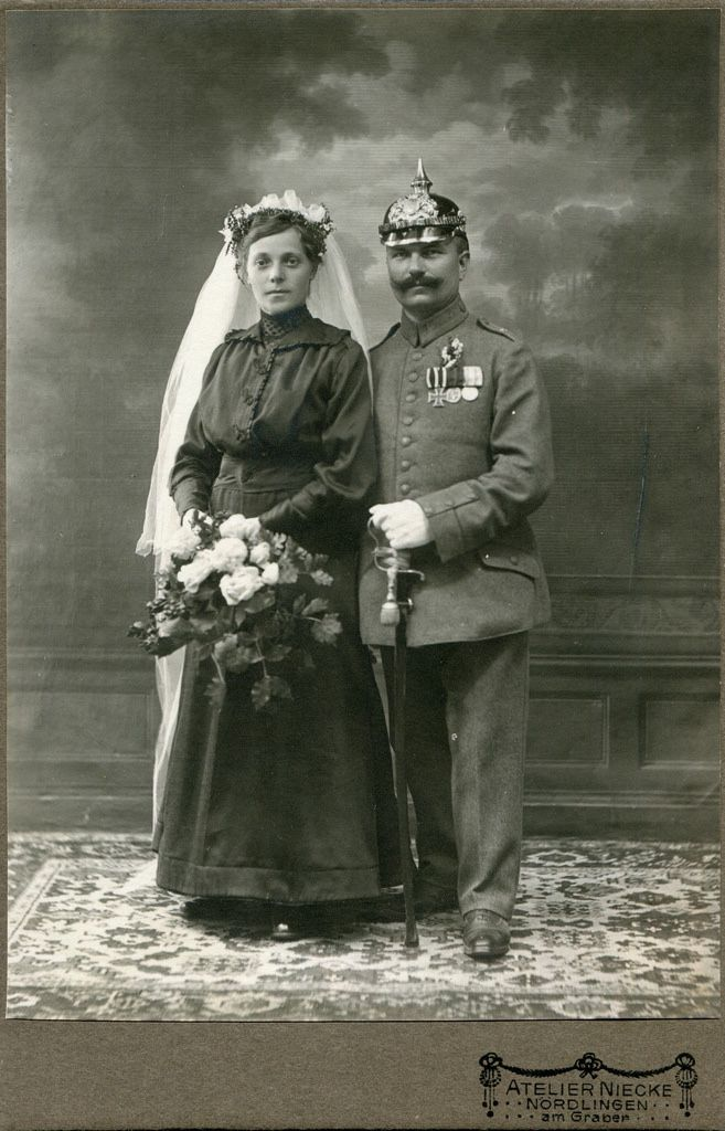 CAB Portrait of a soldier with bride - Germany - c.1915