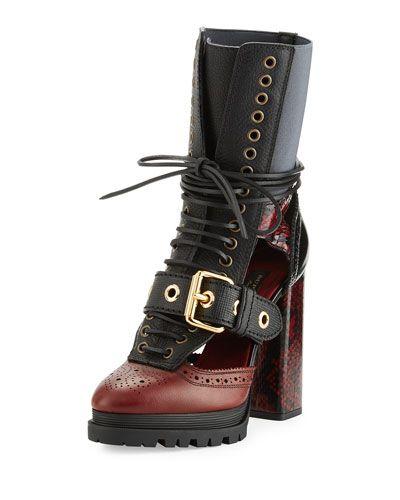 e1fbfcbae2b9 X3DVR Burberry Westmarsh Leather   Snakeskin Cutout Ankle Boot ...