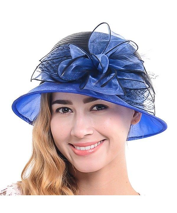 Women's Church Wedding Cloche Bucke Hat Organza Floral