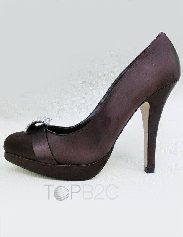 8c4bbeab8a97 Dark Brown Silk And Satin Pointed Toe Stiletto Heel Rhinestone Attractive  High Heels For Woman