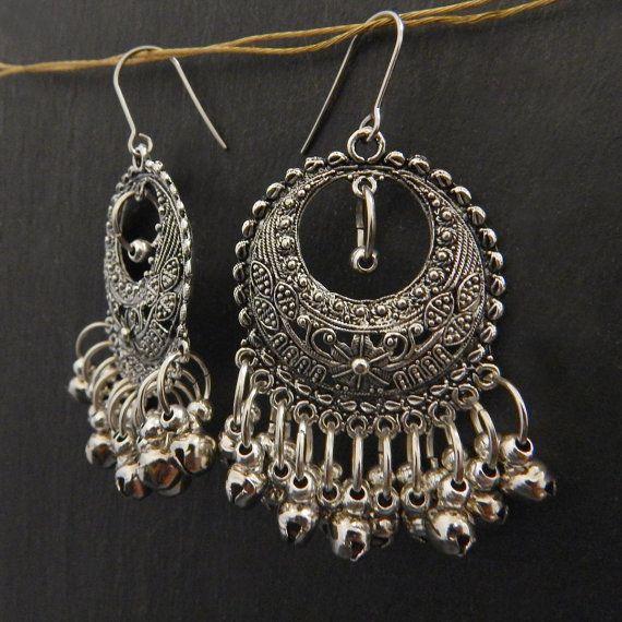 a01024c6090fb Ethnic silver boho earrings gypsy drop earrings by TheEmbellish ...