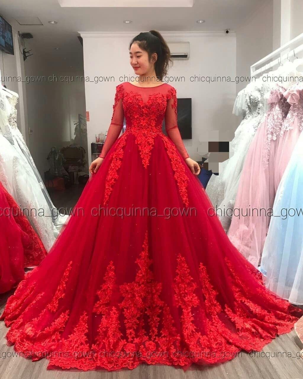 Gaun Pengantin Warna Merah Red Colour Wedding Dress Dresses Colored Wedding Dresses Gowns [ 1280 x 1024 Pixel ]