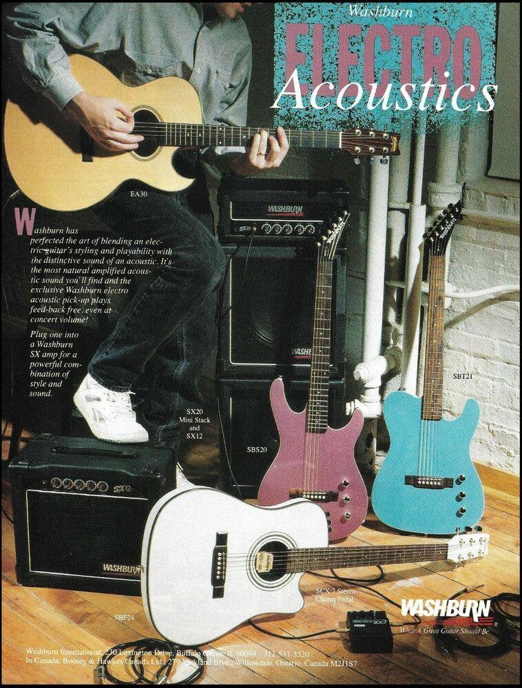 The Washburn Ea30 Sb Electro Ea Electric Acoustic Guitar Ad 8 X 11 Advertisement Washburn Acoustic Electric Guitar Guitar Acoustic Guitar