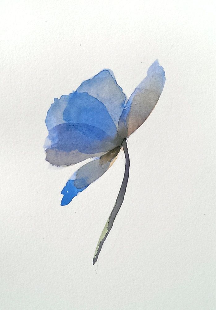 Blue Poppy Watercolor Print Abstract Botanical Modern Flower Art