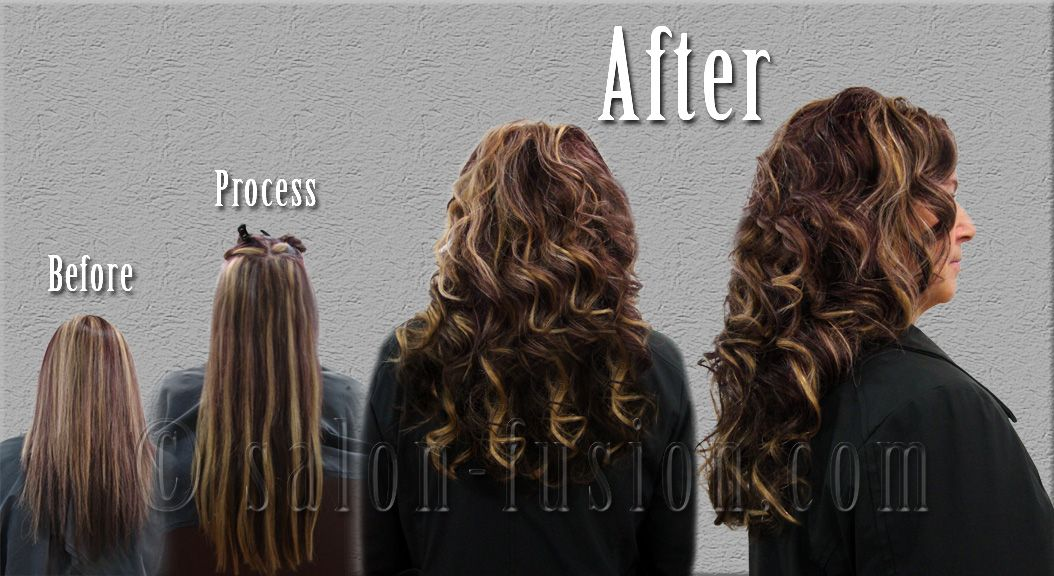 Before And After Hair Extensions By Salon Fusion Ohio Hair