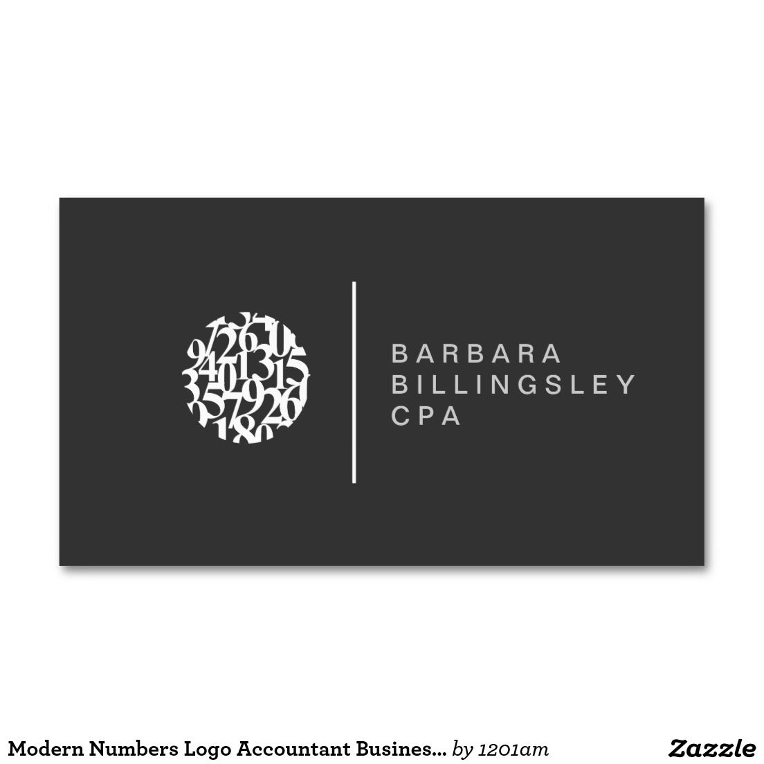 Modern Numbers Logo Accountant Business Card | Work life | Pinterest ...