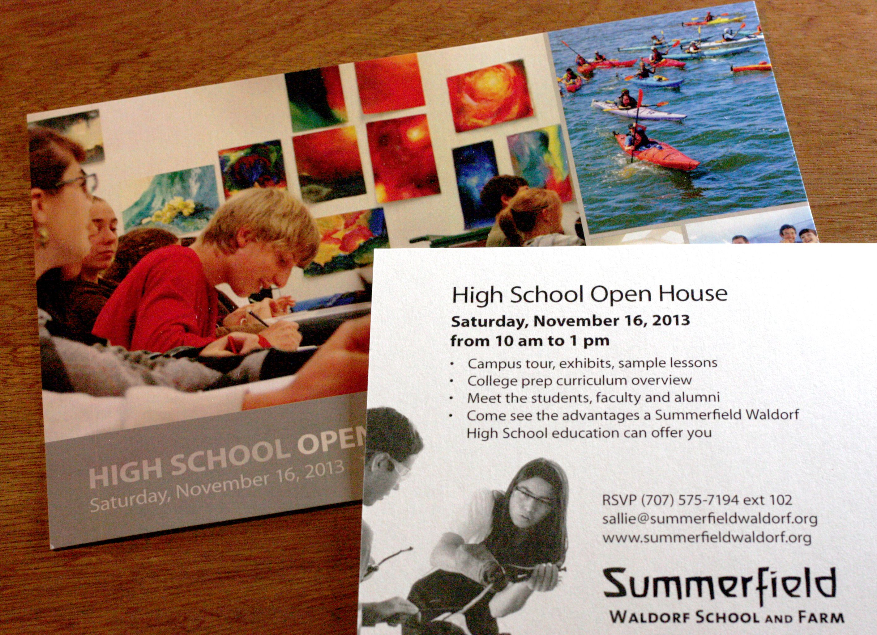 Summerfield Waldorf Open House Postcard Front And Back