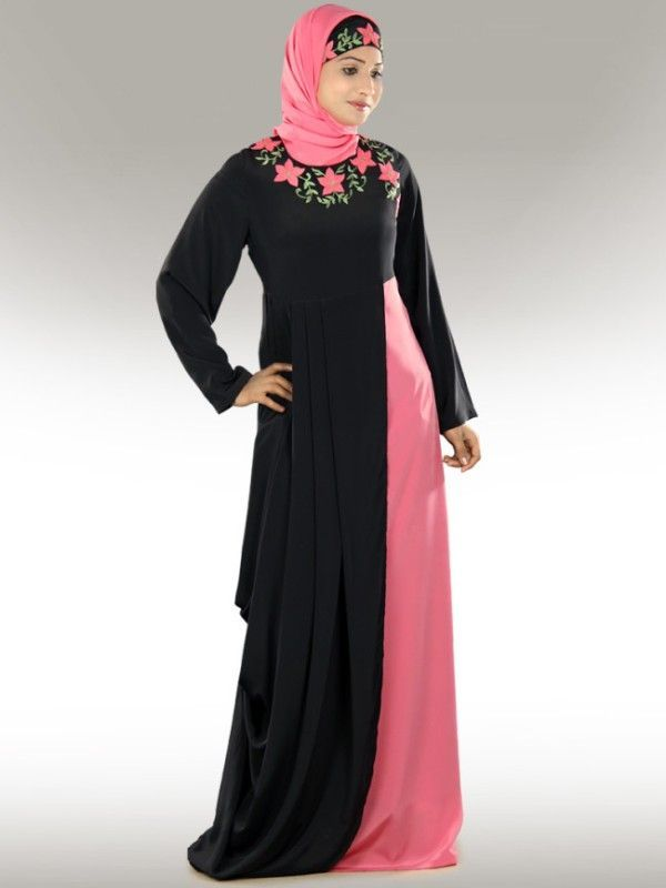 Burka Fashion Pink and black. Stylish designer abaya collection for middle  east women (8)