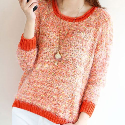 [grxjy560276]Leisure Colorful Dot Fuzz Jumper