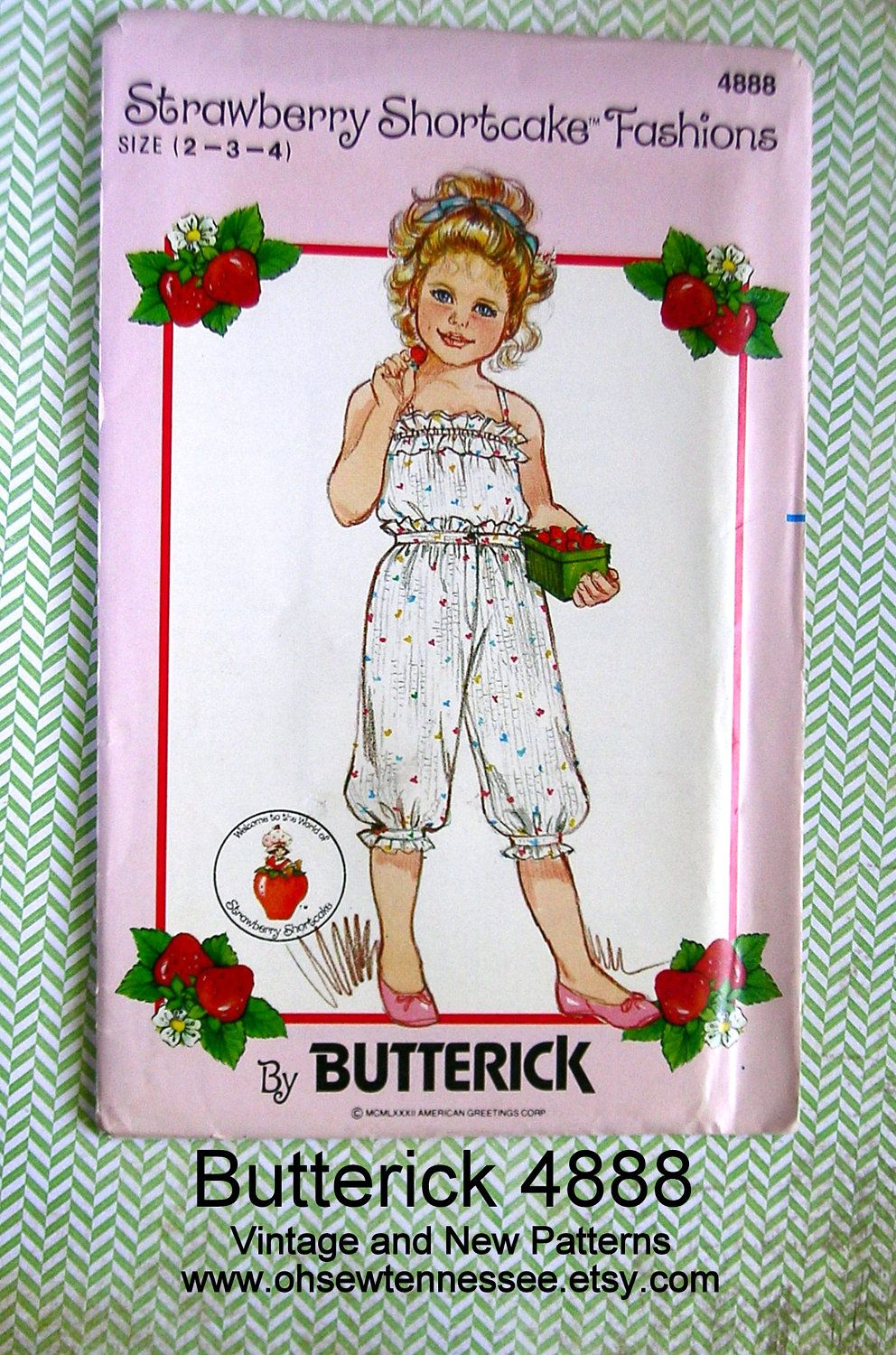Little Girls' Camisole and Knickers, Butterick 4888, Uncut Vintage Designer Sewing Pattern, Sizes 2, 3, and 4, from www.ohsewtennessee.etsy.com.  Strawberry Shortcake designed this outfit with plenty of gathers and ruffles to thrill your little girl to no end. And, I guarantee she will want to wear it every day. There's elastic across the top, double ruffles, and spaghetti straps. The knickers have a set on waistband In front, elastic in back, mock fly front and stand-up ruffles at the waist…