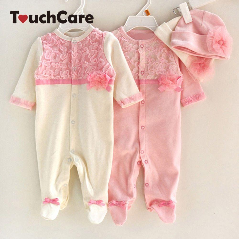 Infant Baby Girls Floral Lace Romper Bodysuit Jumpsuit Clothes Hat Outfit