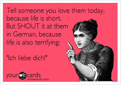 Tell Someone You Love Them Today Because Life Is Short But Shout It At Them In German Because Life Is Also Terrifying Ich Liebe Dich Ecards Funny Funny Quotes Psycho Ex