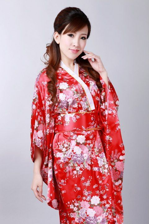 Free Shipping Colorful Japanese Women's Silk Satin Kimono With Obi Sexy Printed Performance Costume Dropshipping One Size H023