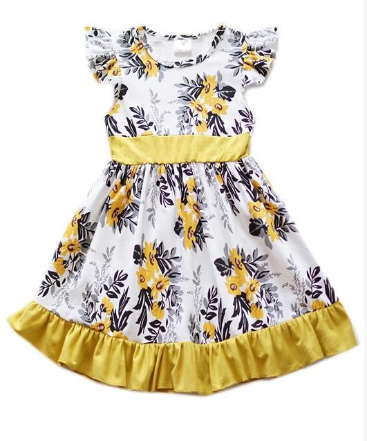 0dcbb84474b Girls  Mustard Yellow Floral Dress