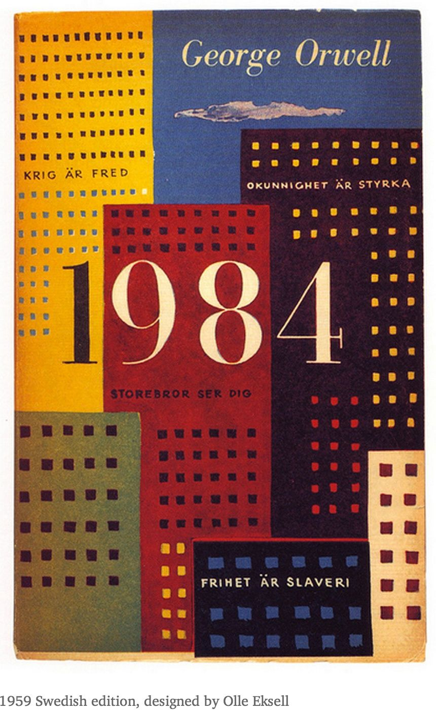 Cover design for a 1959 Swedish edition of the novel 1984, by George Orwell (published 1949).