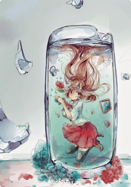 As pinturas digitais em estilo anime de garotas de KyouKaraa