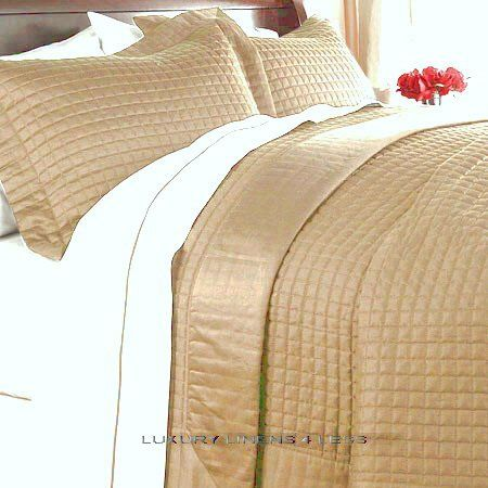 Hotel 400tc Egyptian Cotton Gold Quilt Coverlet Set King Cal King Bed Linens Luxury Coverlet Bedding Soft Comforter Bedding