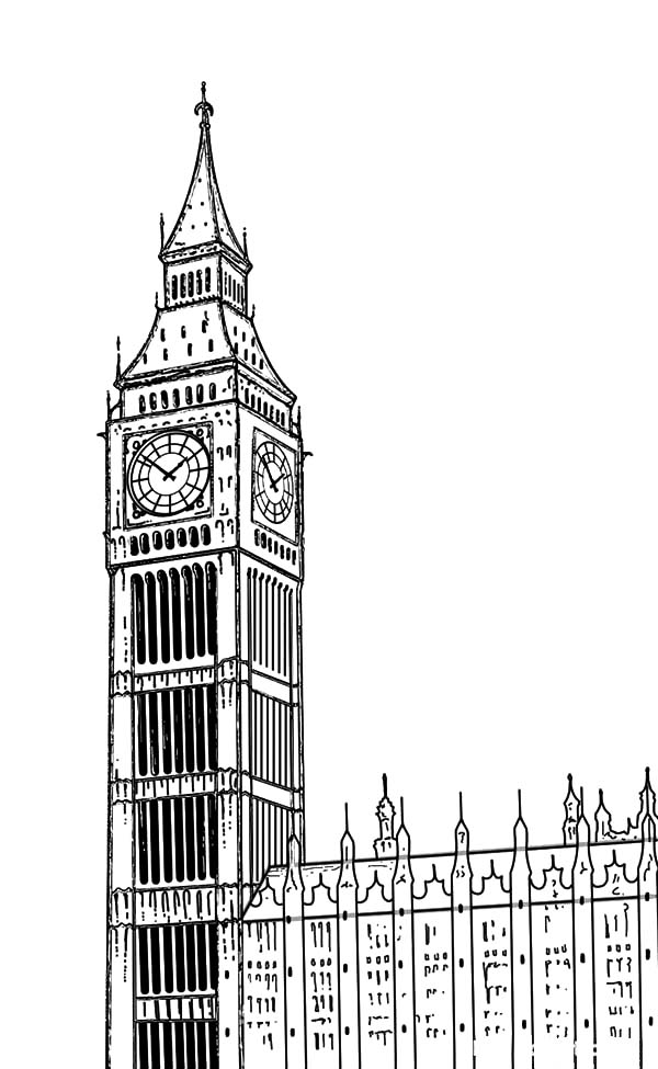 How To Draw London Clock Tower Coloring Pages Netart London Clock Tower Big Ben Big Ben Drawing