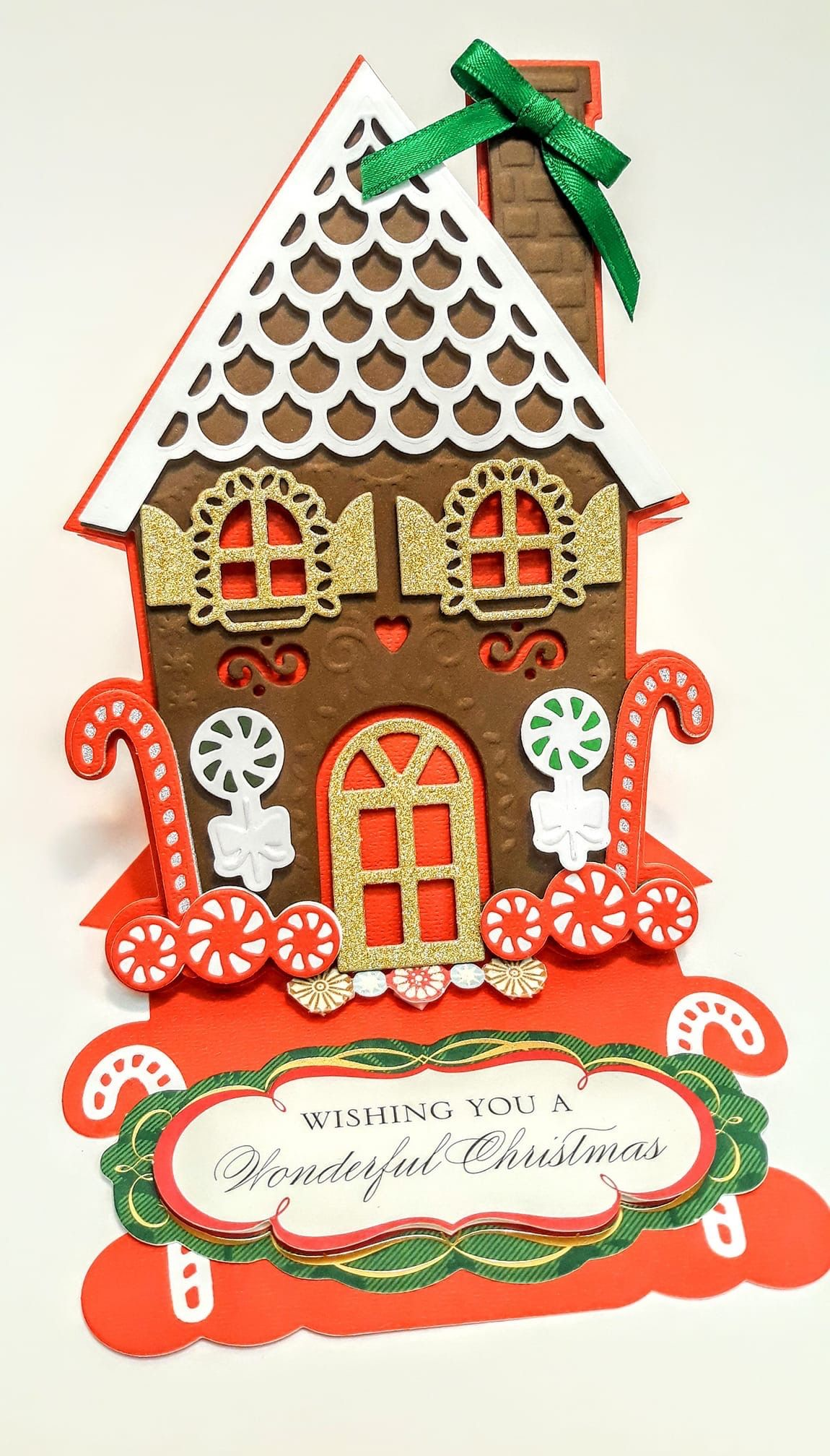 Gingerbread House Christmas Card When I Find A Card I Made On Pinterest And I Didn T Anna Griffin Christmas Cards Christmas Cards Handmade Anna Griffin Cards