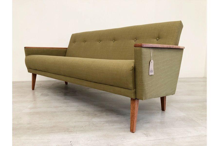 Vintage Inspired Danish Mid Century 60 S 3 Seat Cocktail Sofa Settee In Teak Vinterior Settee Sofa Mid Century Lounge Lounge Sofa