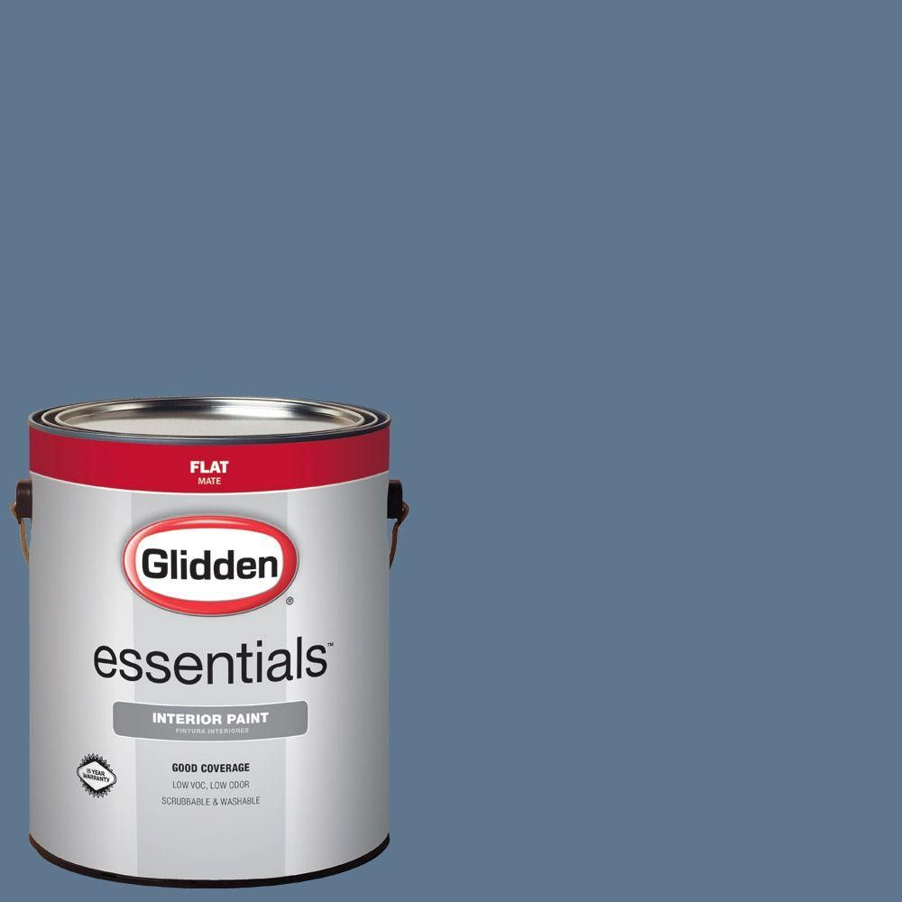 Glidden Essentials 1 gal. #HDGV21 Deep Blue Shadow Flat Interior Paint