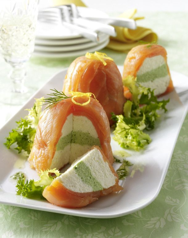 Photo of Salmon terrines with cream cheese and horseradish cream, salad and dill vinaigrette recipe | DELICIOUS