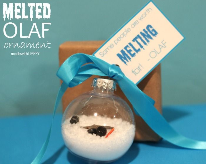 Super easy and adorable melted Olaf Christmas ornament. via Club ...