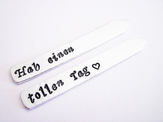 Personalized Collar Stays Hand Stamped Collar by RobertaValle